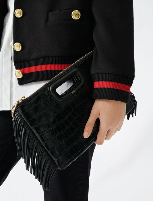 Crocodile effect-leather M Duo clutch : M Duo color Black