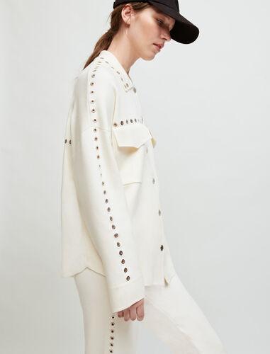 衬衫式网眼罩衫 : Sweaters & Cardigans 顏色 淡褐色/ECRU