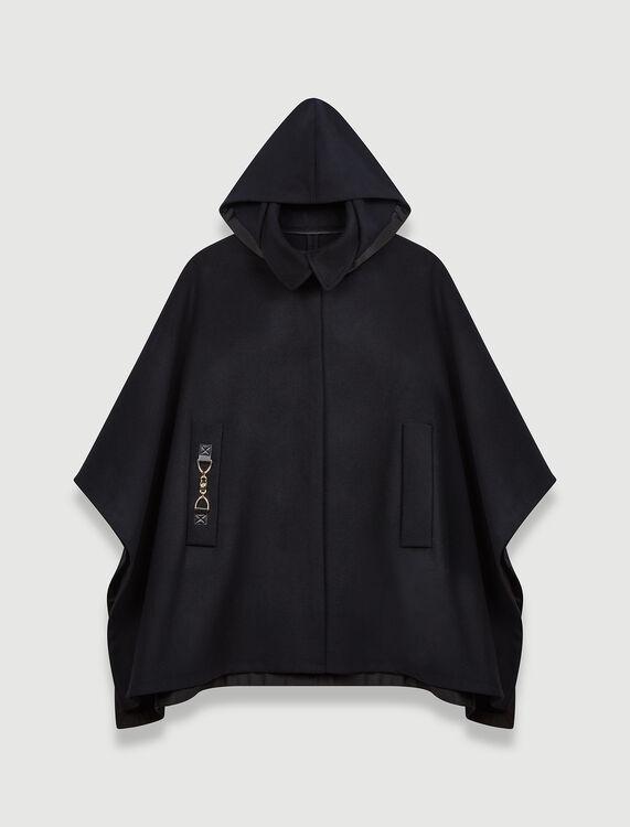 Cape-style wool coat - Coats & Jackets - MAJE