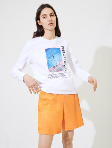 White screen-printed sweatshirt : Tops color White/Pink/Blue