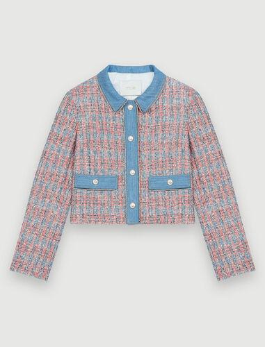 Tweed jacket with denim contrasts : Coats & Jackets color Red