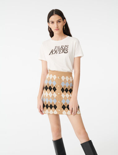 Buttoned jacquard skirt : Skirts color Camel