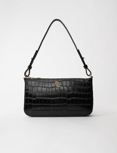 Baguette bag in embossed leather : Shoulder bags color Ecru