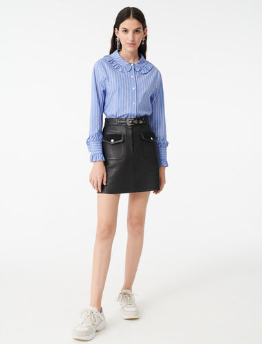 Striped shirt with a frilled collar : Shirts color Blue