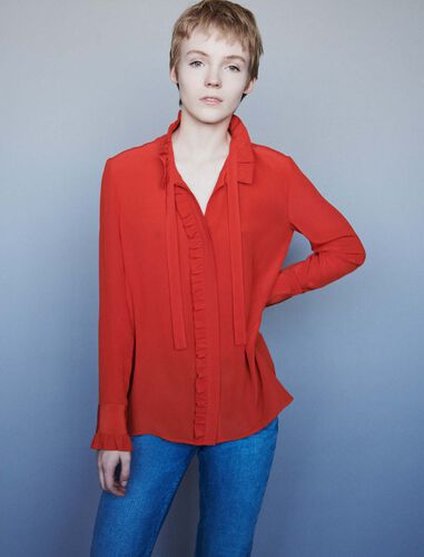 Silk ruffled pussy-bow shirt : Shirts color Red