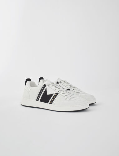 Two-tone leather sneakers : Sneakers color Black / White
