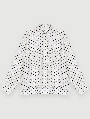 Voile shirt with velvet polka dots : Shirts color White / Black