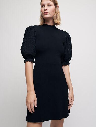 绣花袖针织连衣裙 : 连衣裙 顏色 黑色/BLACK