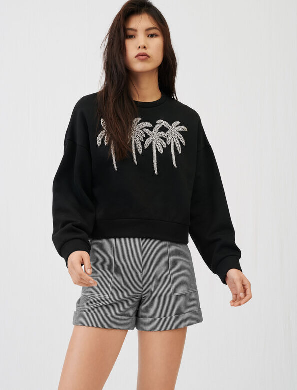 Rhinestone sweatshirt : Tops color Black