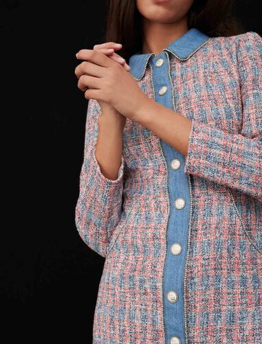 Tweed dress with denim contrasts : Dresses color Red
