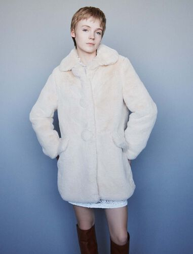 Faux fur coat : Overcoat color Nude