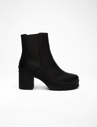 Heeled leather Chelsea boots : Booties & Boots color Black
