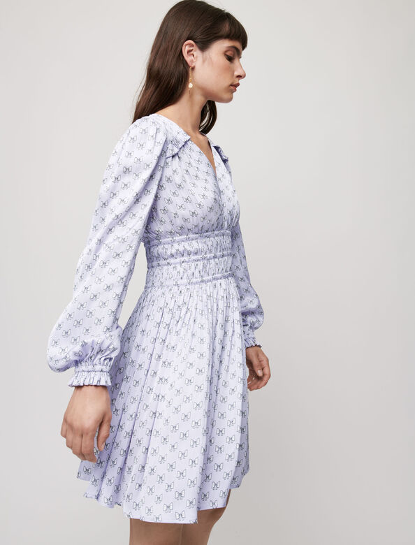 Satin dress with ruffles : Dresses color Ecru Knots