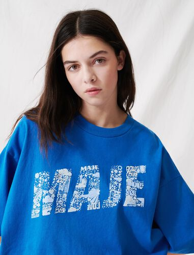 Screen-printed cropped T-shirt : T-Shirts color Blue
