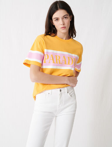 "T-shirt with ""Paradise"" screen print : T-Shirts color Yellow"