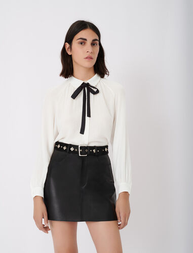 Flowing shirt with pussy-bow collar : Shirts color Ecru
