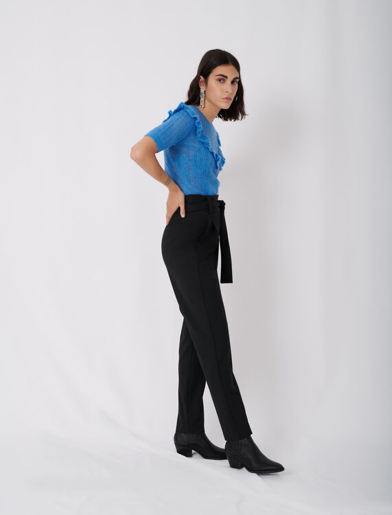 LOW-SLUNG BELTED PANTS : Trousers color Black