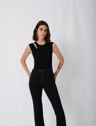 Openwork knit bodysuit : The Mood color Black