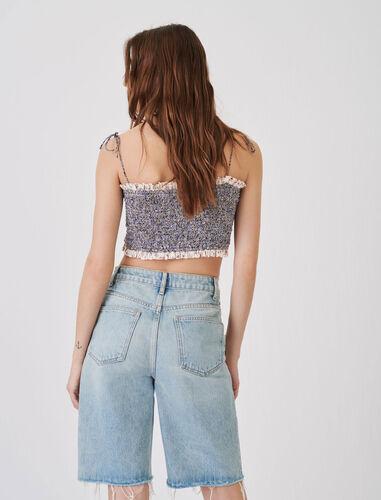 Straight-cut denim Bermuda shorts : Shorts color Light Blue