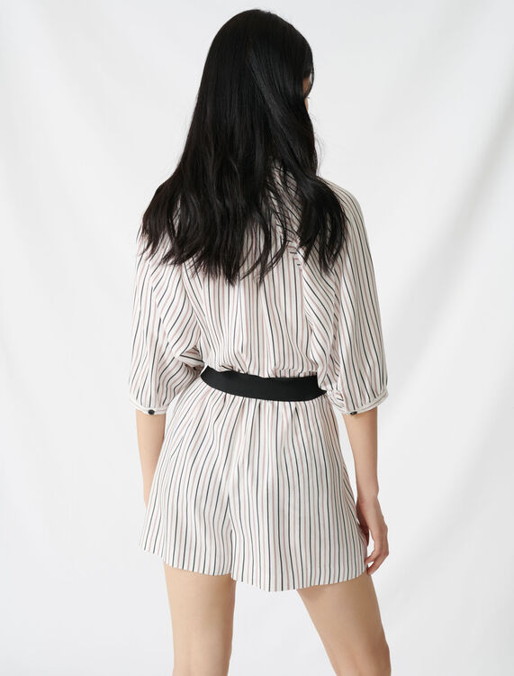 Belted pinstriped jumpsuit : Jumpshort & Jumpsuits color Ecru