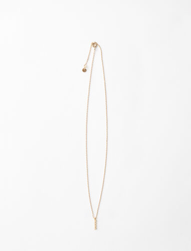 Rhinestone I necklace : Jewelry color Gold
