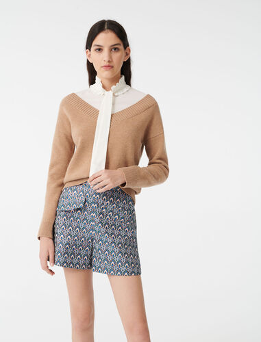 Mixed fabric trompe l'oeil sweater : Sweaters color Camel