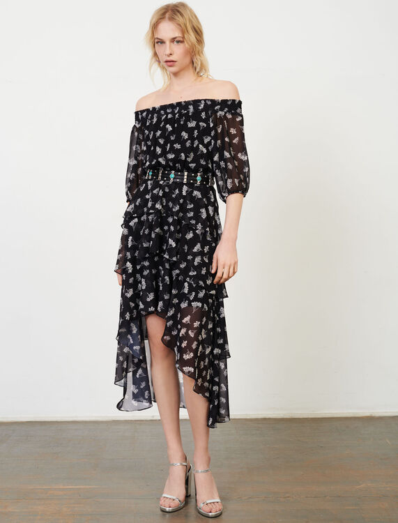 Asymmetric dress in printed muslin - Dresses - MAJE