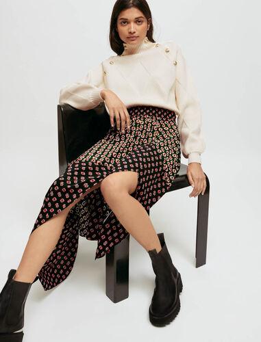 Maje printed split skirt : Skirts & Shorts color Big black M monogramme