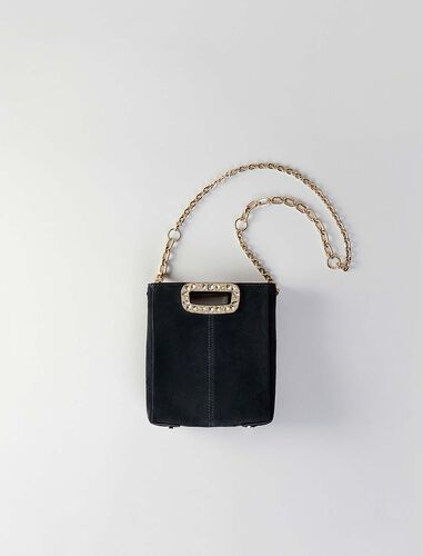 Mini suede M bag with strass handle : M Mini color Black