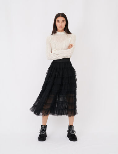 Tulle midi skirt : Skirts color Black