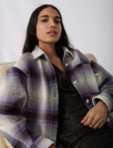 Checked overshirt-style jacket : Shirts color Parma Violet