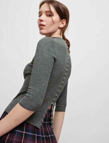 羊毛混纺罗织套头衫 : Sweaters & Cardigans 顏色 灰色/GREY