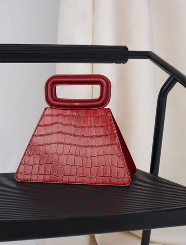 Embossed leather pyramid handle bag : M Bag color Black