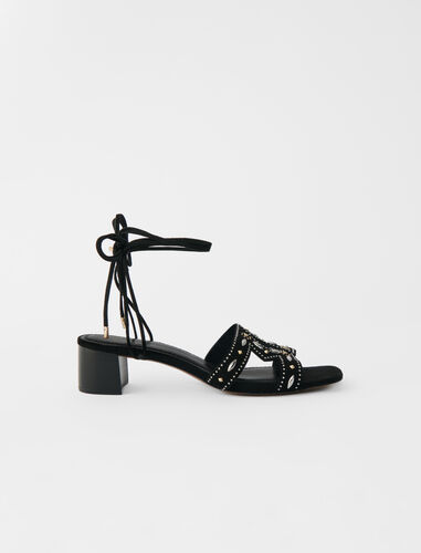 Low-heeled tie sandals with studs : Boots & Flat shoes color Black