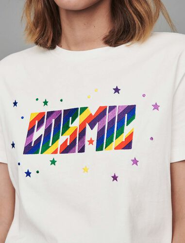 Embroidered tee shirt : T-Shirts color White