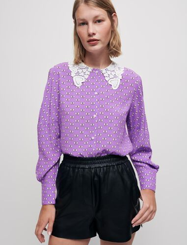 Bow-print shirt with guipure collar : Shirts color Purple Knots