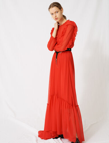 Long muslin dress with ruffles : Dresses color Red