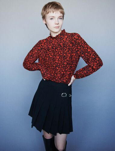 Printed-silk top : Tops color Red