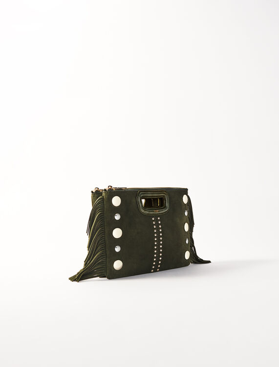 M Duo suede clutch with studs : M Bag color Khaki