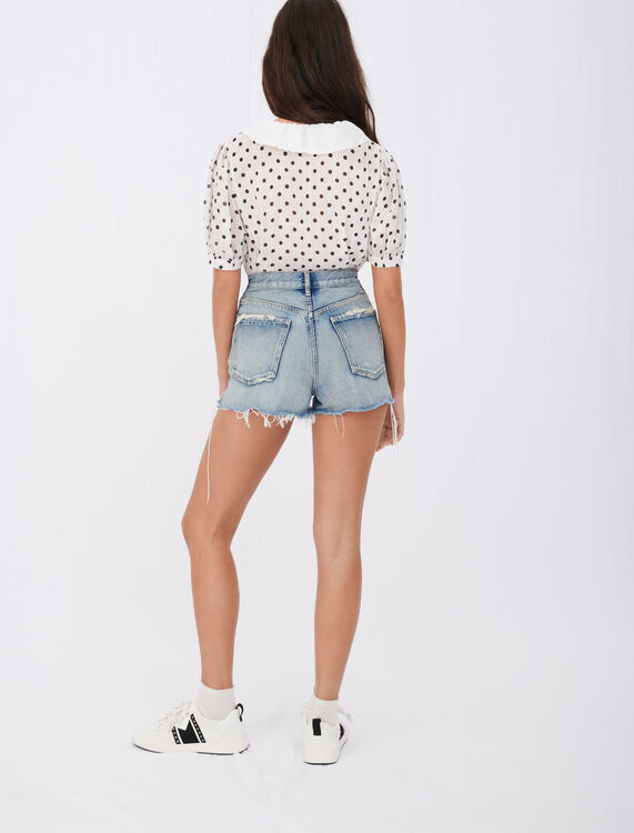 Crinkle-effect polka dot shirt : T-Shirts color White