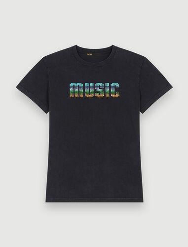 Black T-shirt with MUSIC rhinestones : T-Shirts color Black