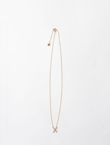 字母x水钻装饰项链 : 首饰 顏色 金色/GOLD