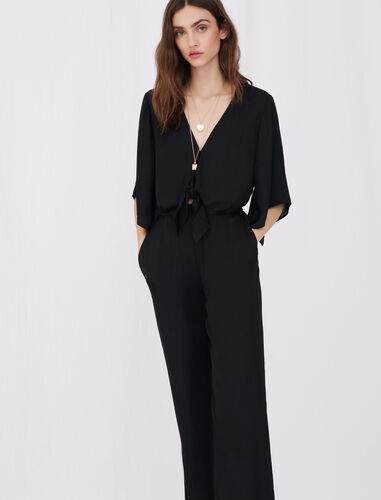 Satin playsuit : Jumpshort & Jumpsuits color Black