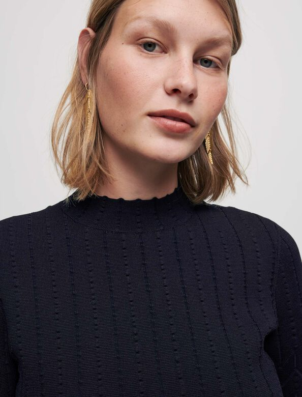 Jacquard knit skater dress : Dresses color Navy