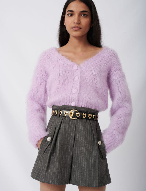 Mohair cardigan with covered buttons : Cardigans color Parma Violet