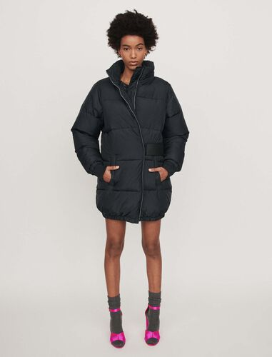 Long hooded puffer coat : Overcoat color Dark Navy