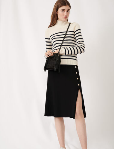 Cashmere sailor-style sweater : Sweaters color Ecru/Navy Blue