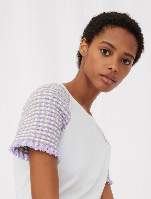 Jersey T-shirt with tweed sleeves : T-Shirts color Ecru Purple