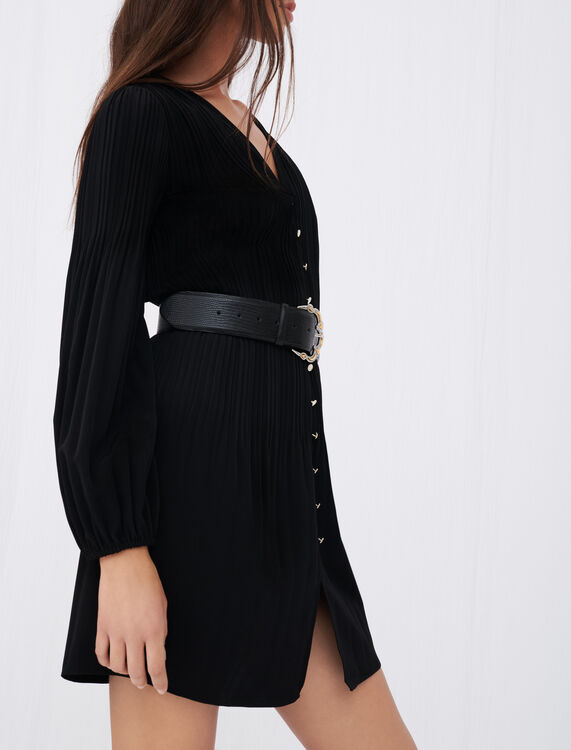 All-over pleat dress with buttons - Dresses - MAJE