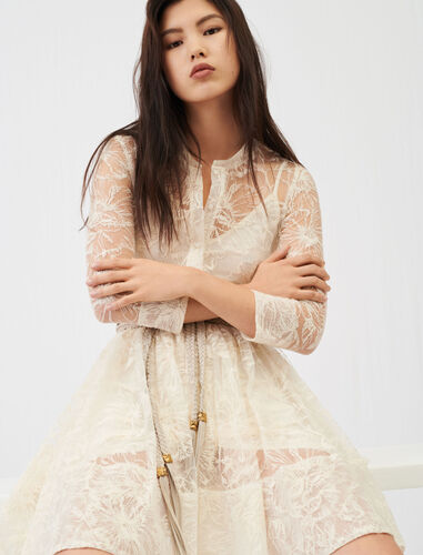 Belted lace dress : Dresses color Ecru
